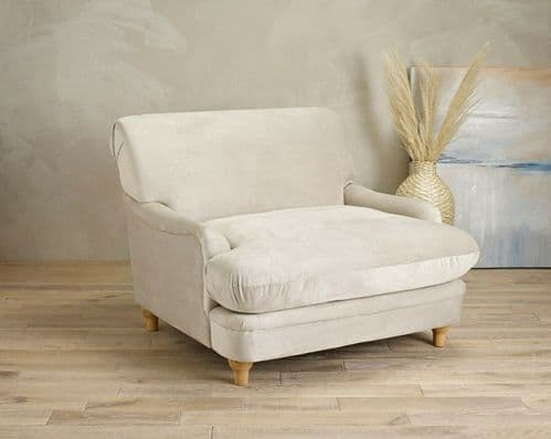 BEIGE CREAM FABRIC LARGE LOUNGE SNUGGLE ARM CHAIR